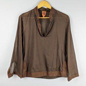 Tory Burch Brown Tunic Top with Orange Stitching 6